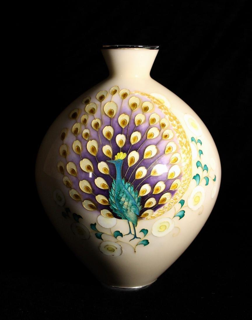 Japanese Cloisonne Vase by Tamura - Peacock