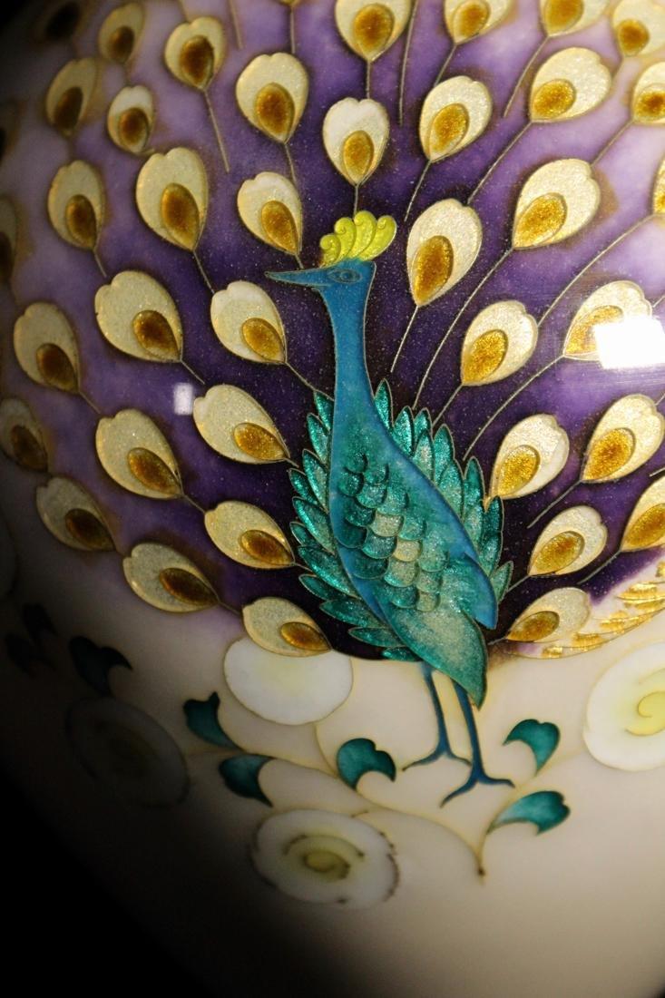 Japanese Cloisonne Vase by Tamura - Peacock - 2
