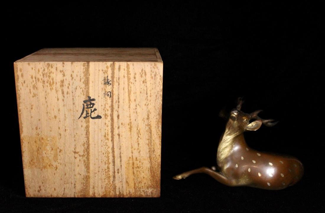 Japanese Bronze Deer with Presentation Box