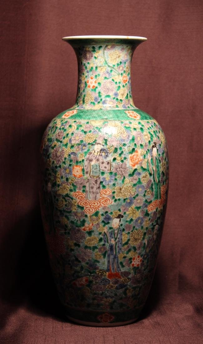 Chinese Famille Verte Porcelain Vase with Immortals - 4