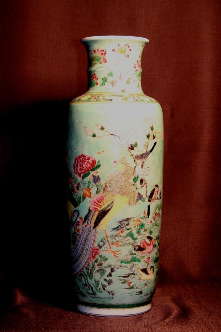 Chinese Famille Verte Porcelain Vase with Mandarin Duck