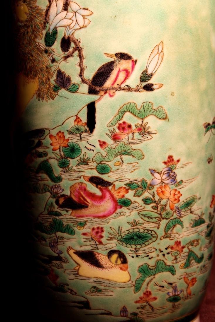 Chinese Famille Verte Porcelain Vase with Mandarin Duck - 3