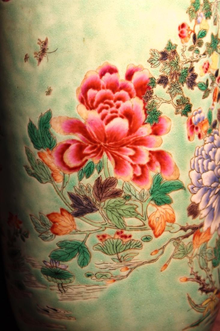 Chinese Famille Verte Porcelain Vase with Mandarin Duck - 4