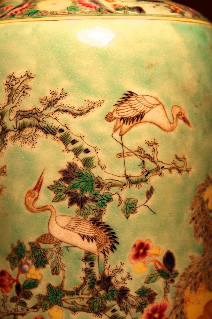 Chinese Famille Verte Porcelain Vase with Mandarin Duck - 5