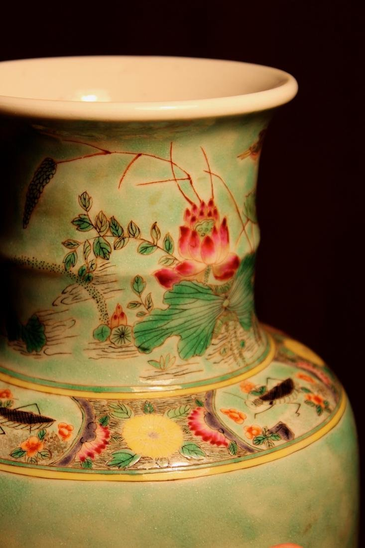 Chinese Famille Verte Porcelain Vase with Mandarin Duck - 6