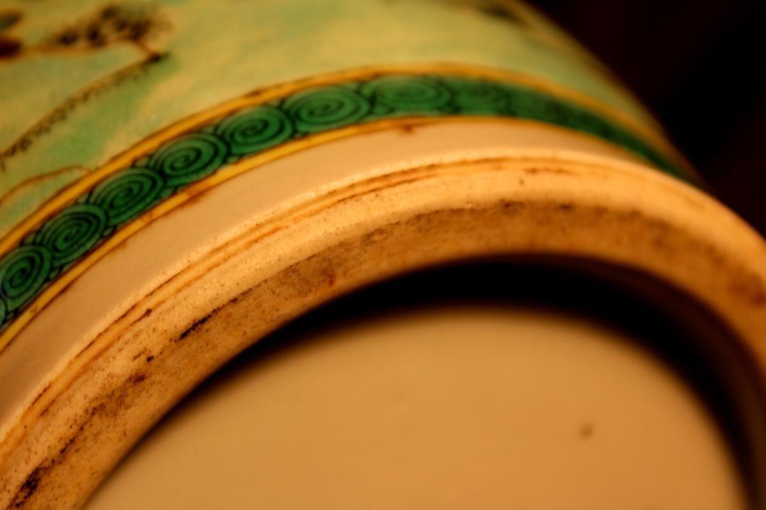 Chinese Famille Verte Porcelain Vase with Mandarin Duck - 8