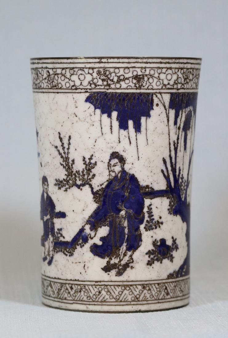 Chinese Cloisonne Brushpot with Scholar Scene