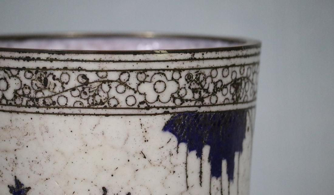 Chinese Cloisonne Brushpot with Scholar Scene - 4