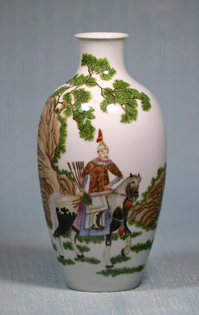 Chinese Egg Shell Porcelain Vase of General on Horse