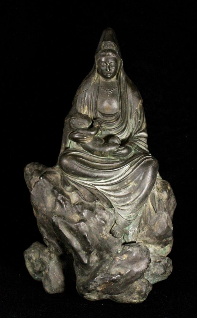 Meiji Japanese Bronze Kuanyin with Child sitted on Rock