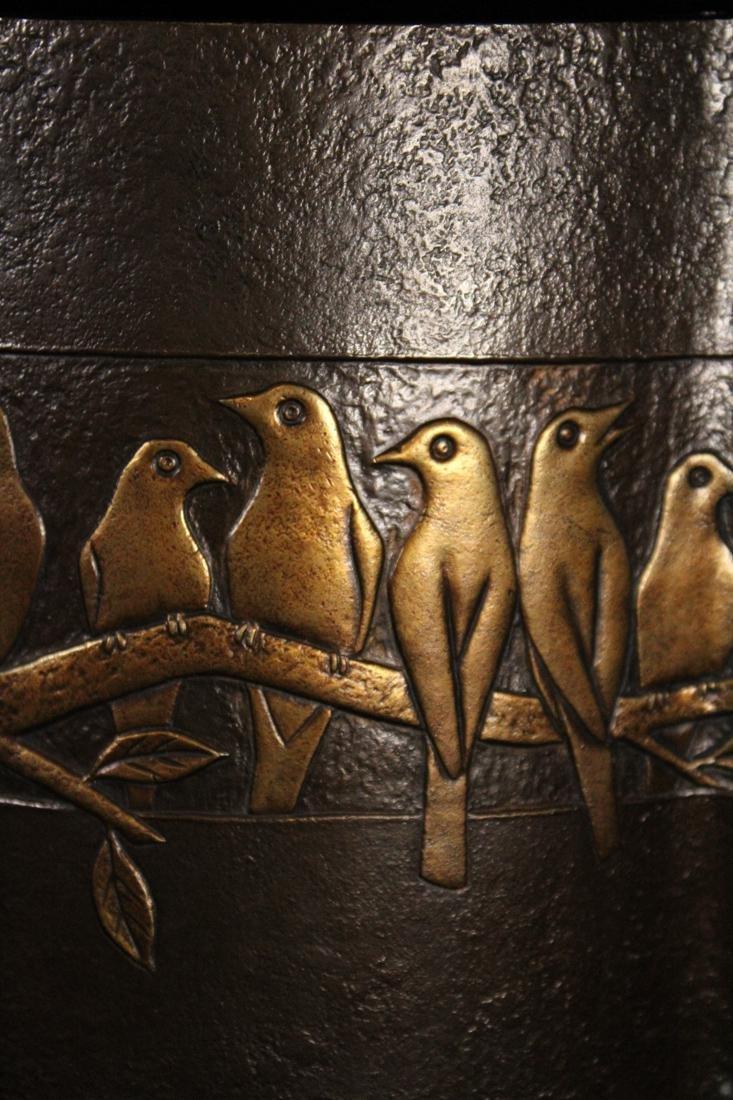 Japanese Bronze Vase Parrots by Zuiho - 3