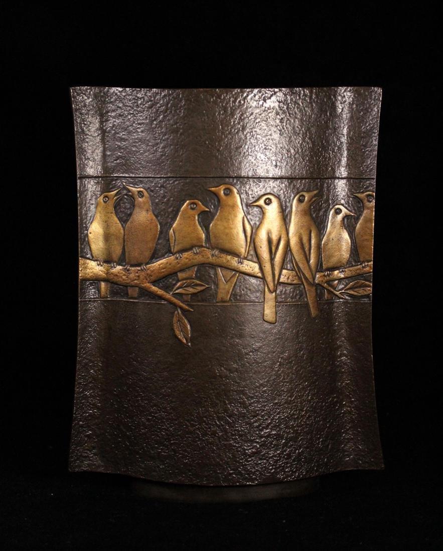 Japanese Bronze Vase Parrots by Zuiho - 5