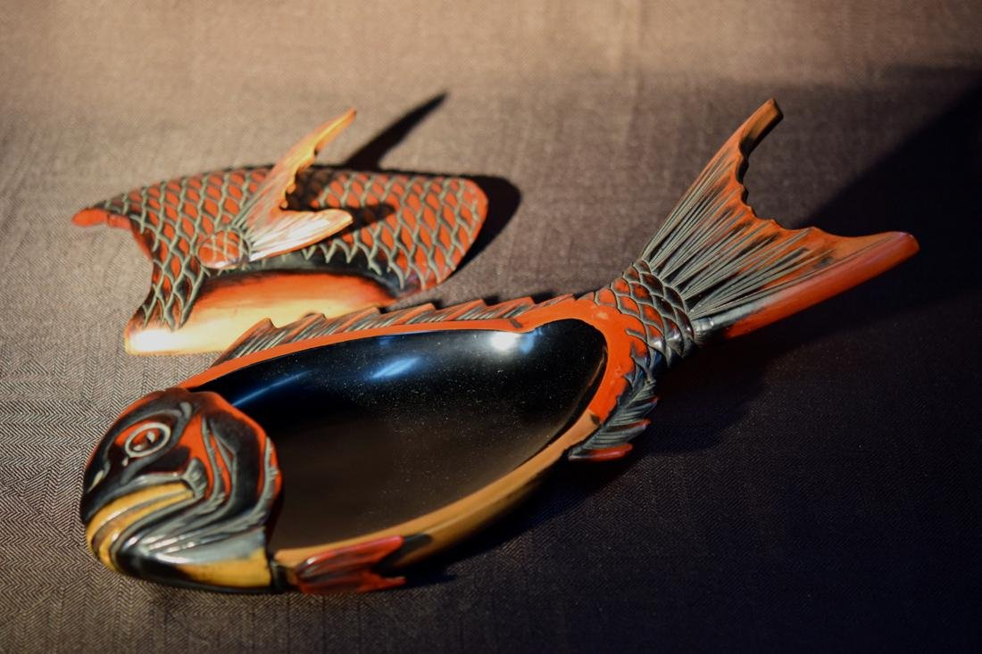 Japanese Lacquer Box fo Fish Shape - 5