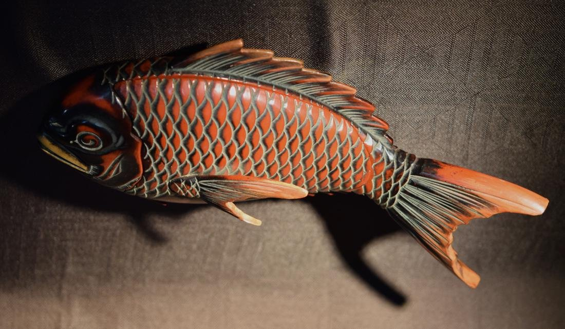 Japanese Lacquer Box fo Fish Shape - 6