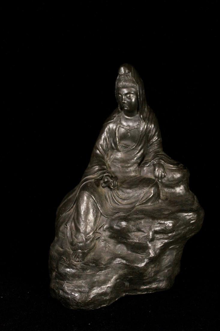 Japanese Bronze Kuanyin on Rock