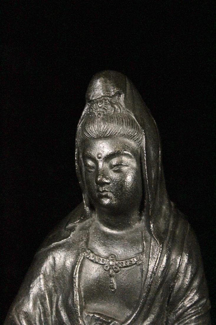 Japanese Bronze Kuanyin on Rock - 2