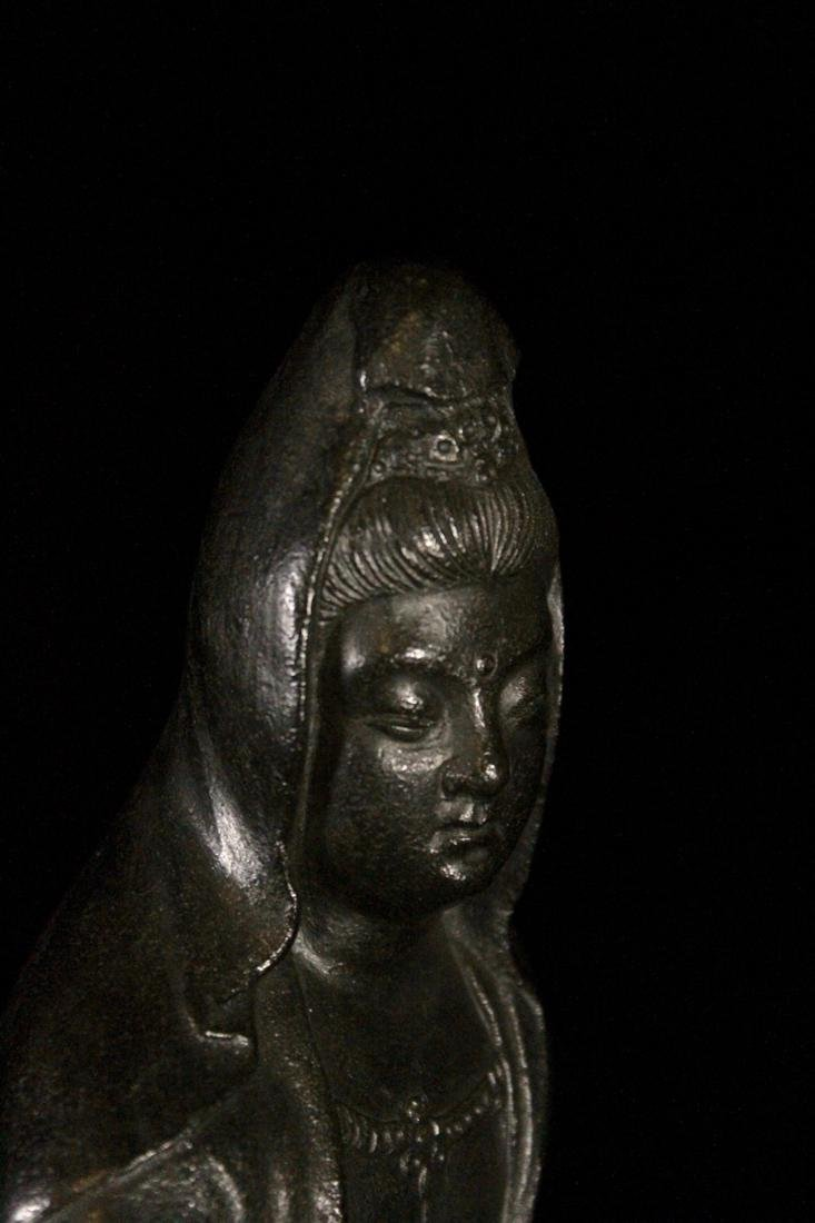Japanese Bronze Kuanyin on Rock - 5