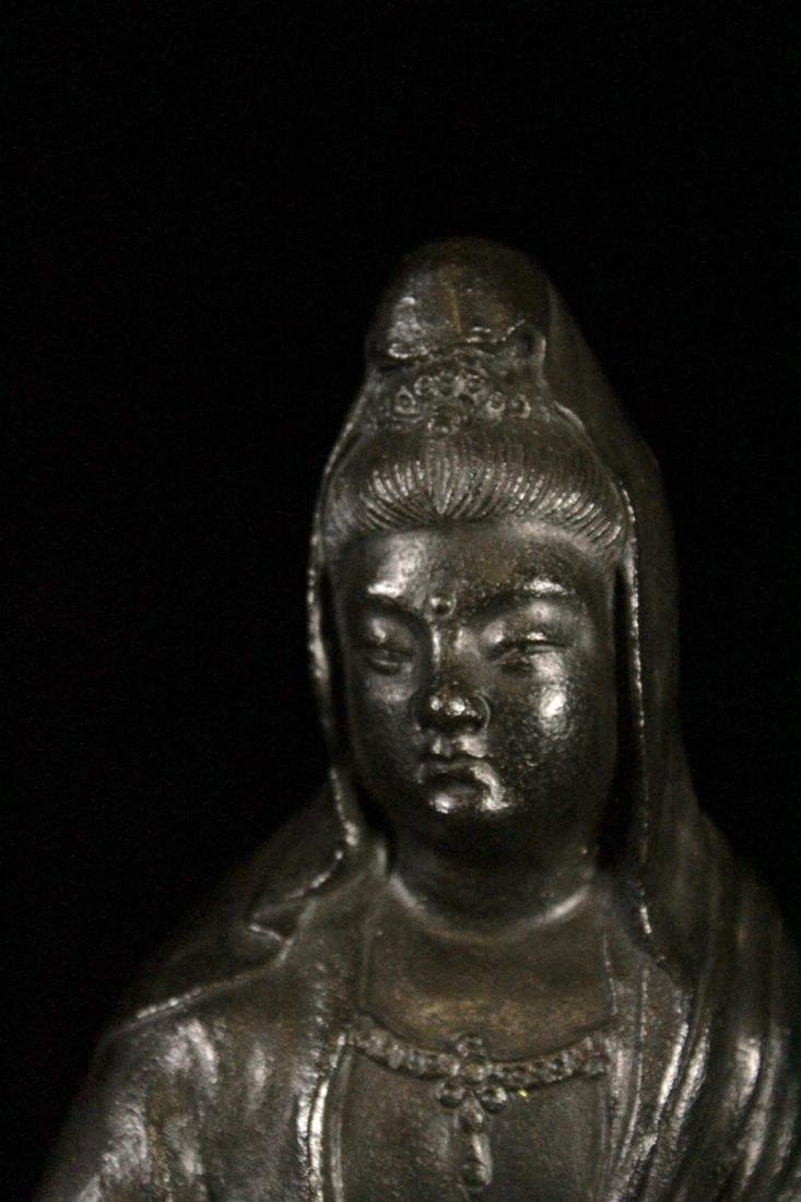 Japanese Bronze Kuanyin on Rock - 6