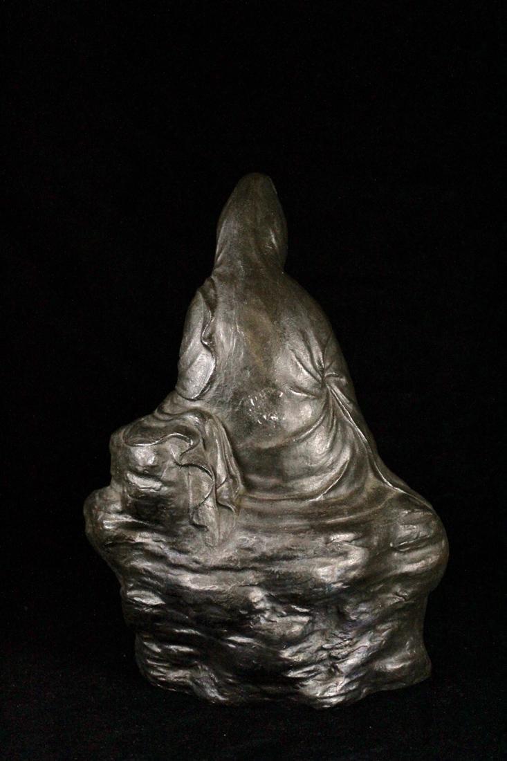 Japanese Bronze Kuanyin on Rock - 7