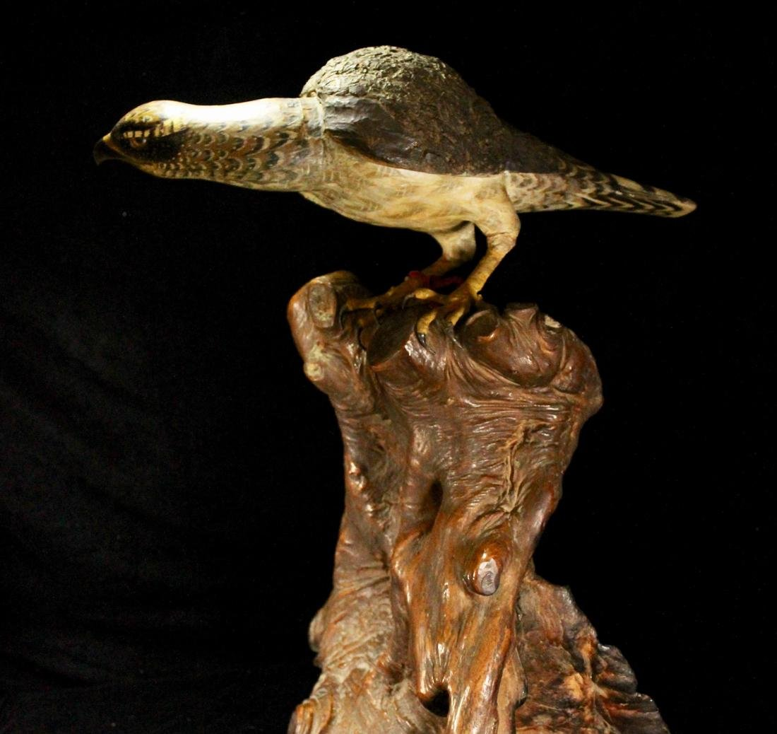 Rare Japanese Wood Hawk on Rootwood Stand - 3