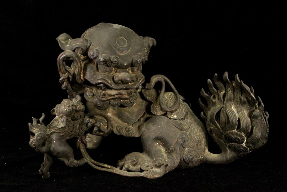 Chinese Ming Bronze Foolion Group