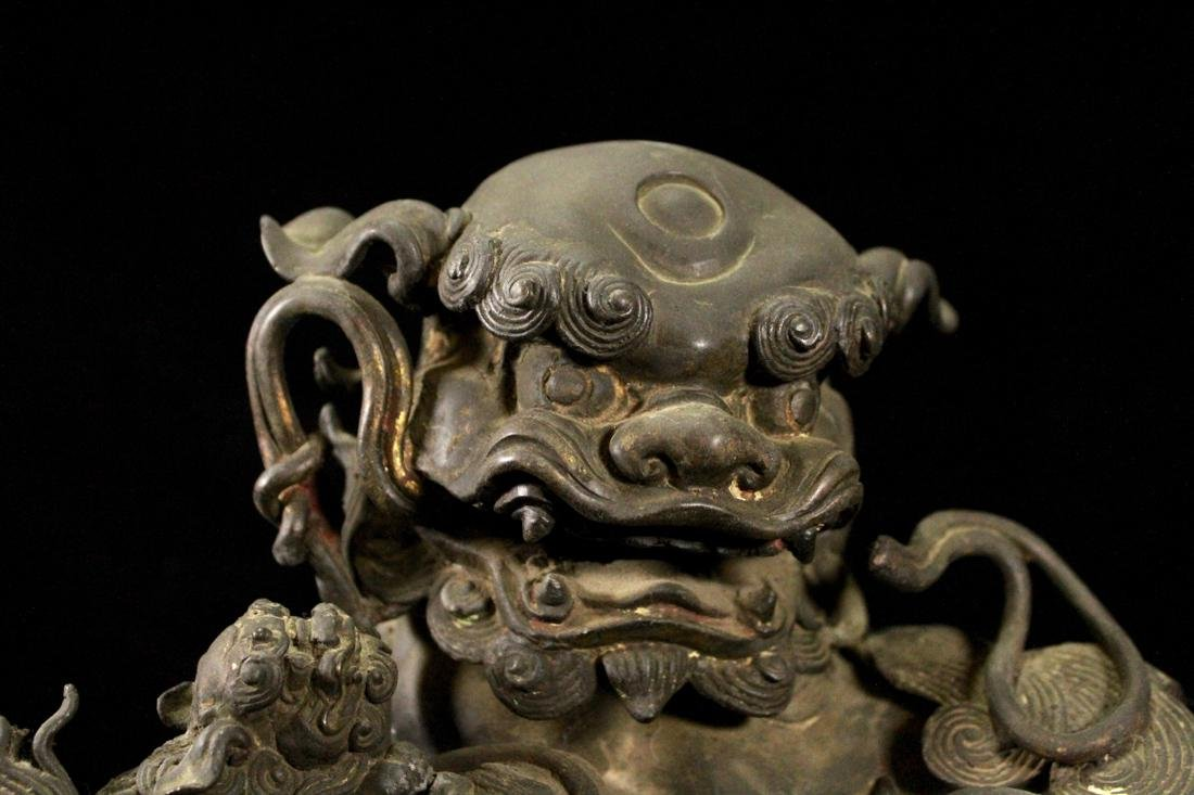 Chinese Ming Bronze Foolion Group - 2