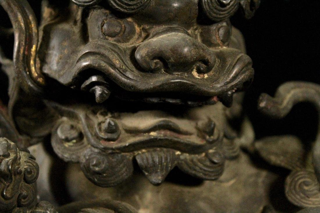Chinese Ming Bronze Foolion Group - 6