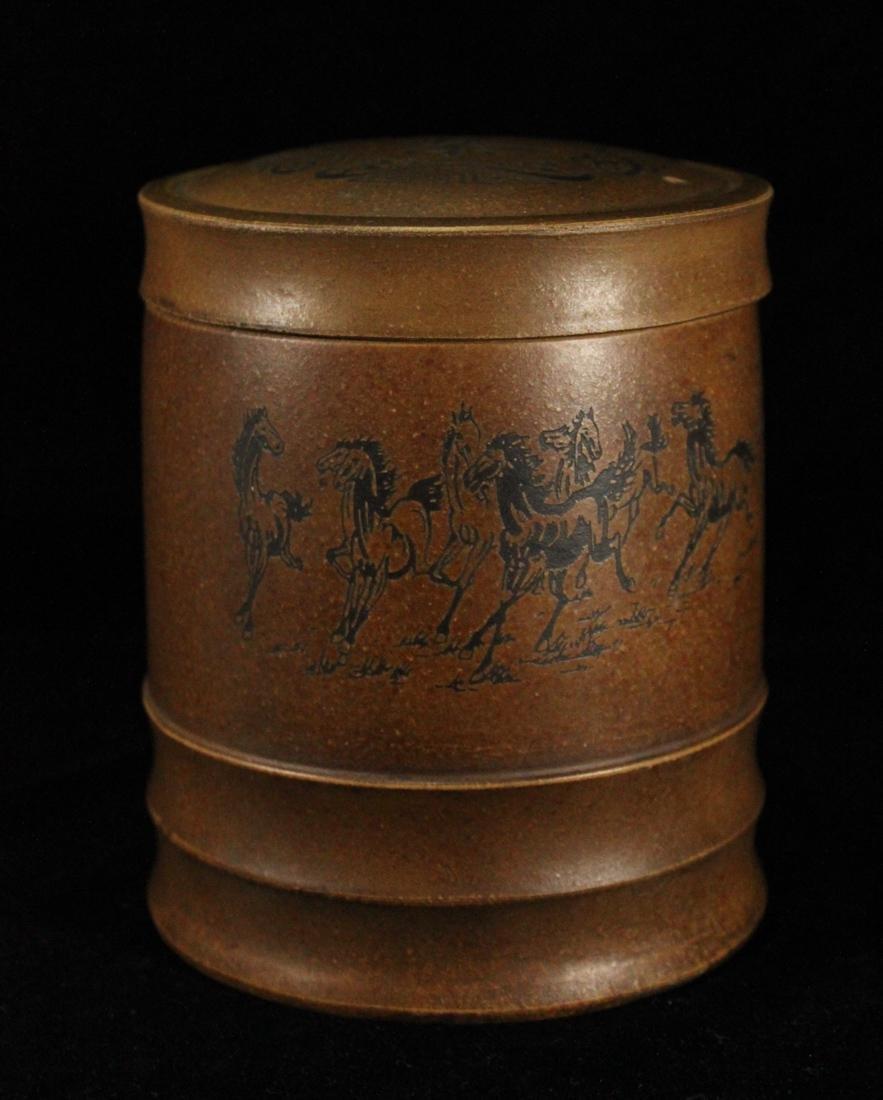 Chinese Yixin Tea Caddy - Horse Scene