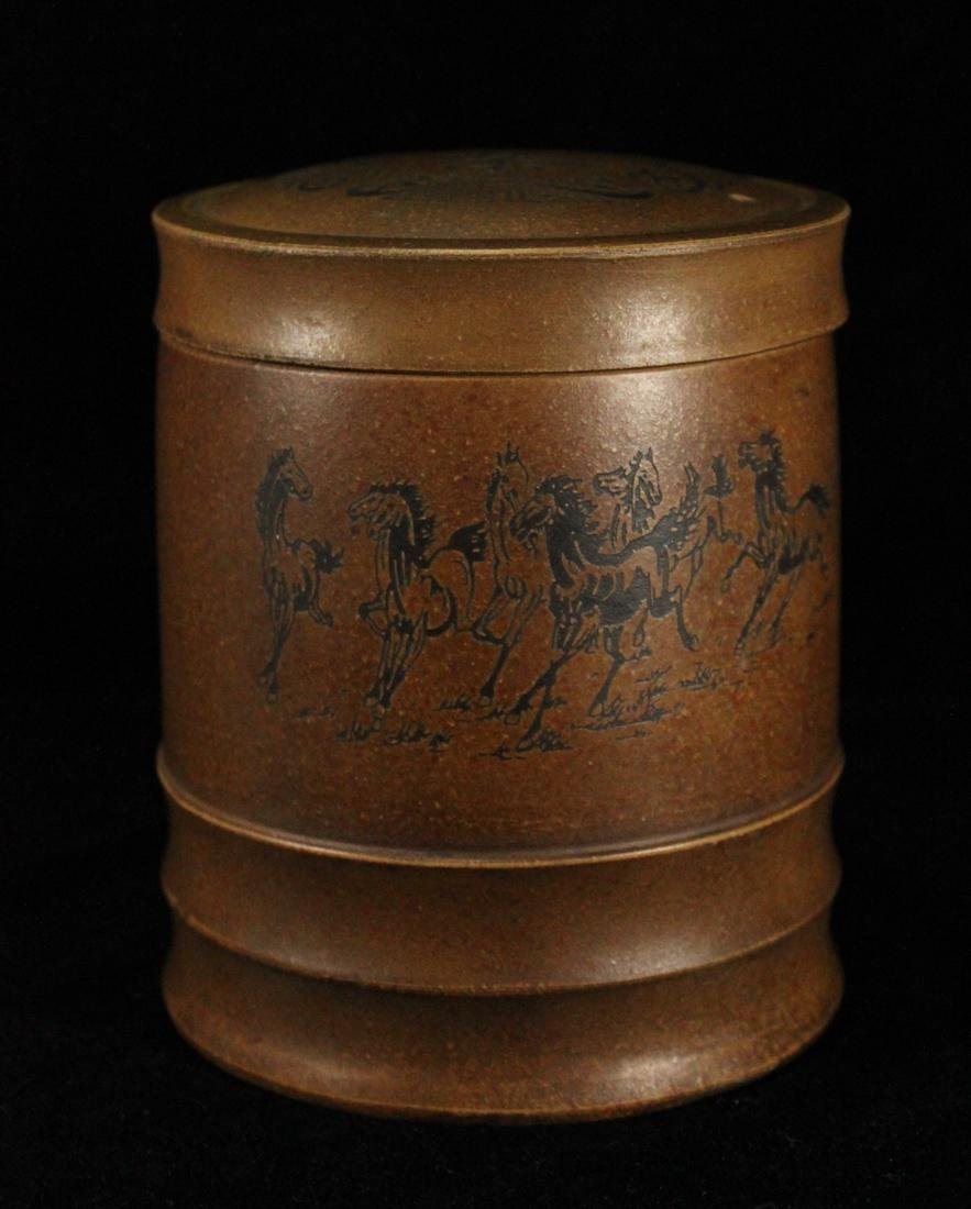 Chinese Yixin Tea Caddy - Horse Scene