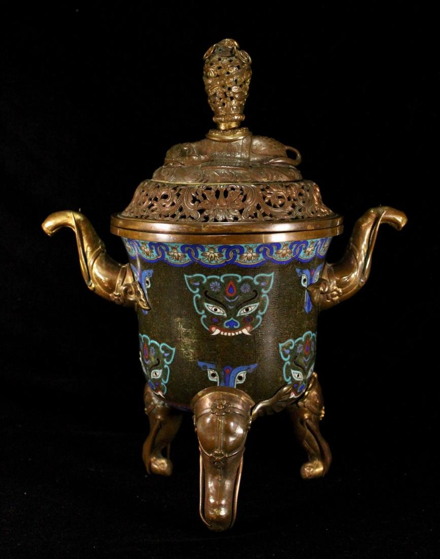 Chinese Cloisonne Censer with Elephane