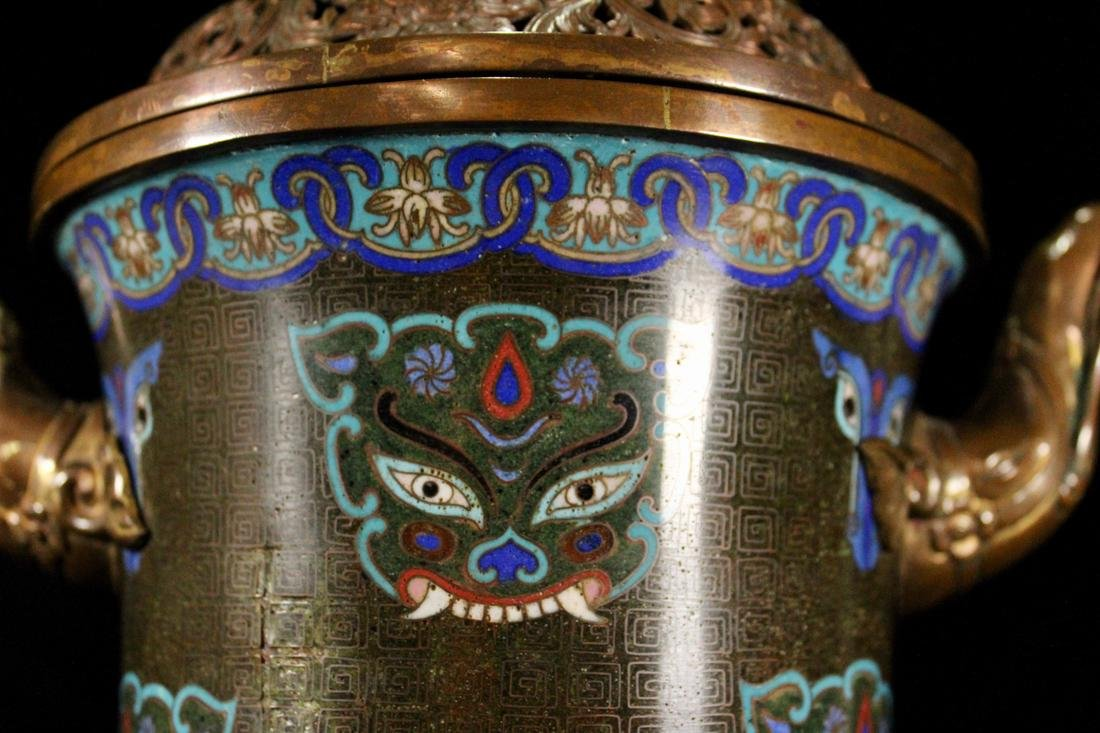 Chinese Cloisonne Censer with Elephane - 6