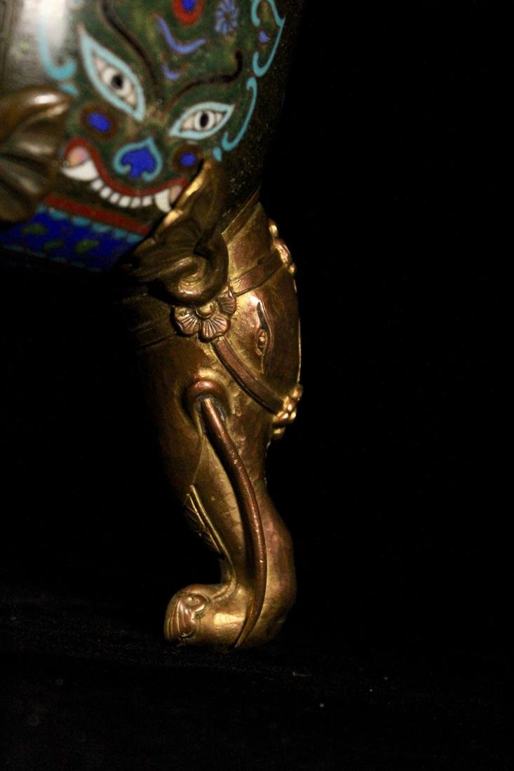 Chinese Cloisonne Censer with Elephane - 7