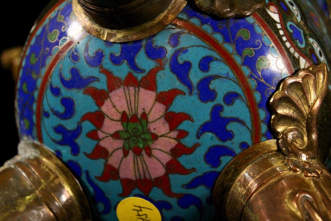 Chinese Cloisonne Censer with Elephane - 8