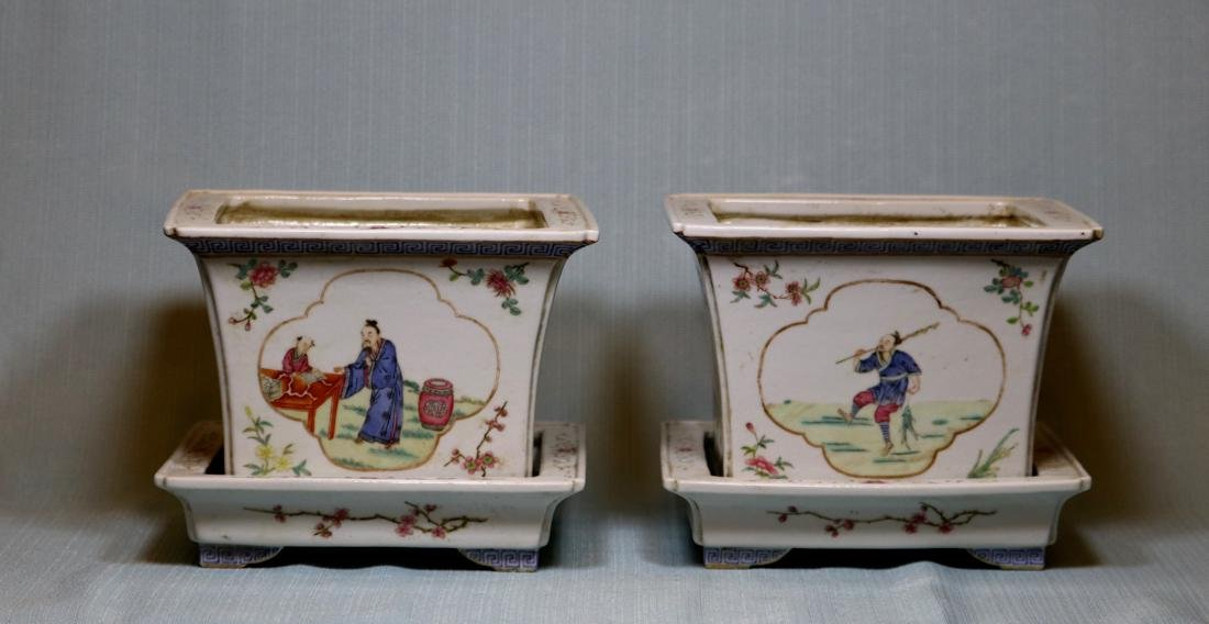 Pair Chinese Porcelain Planters with Underplates