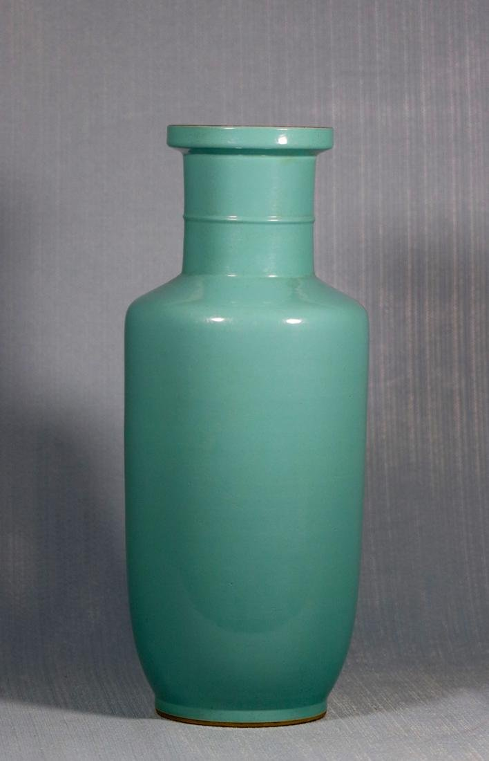 Chinese Lake Green Glazed Rouleat Porcelain Vase