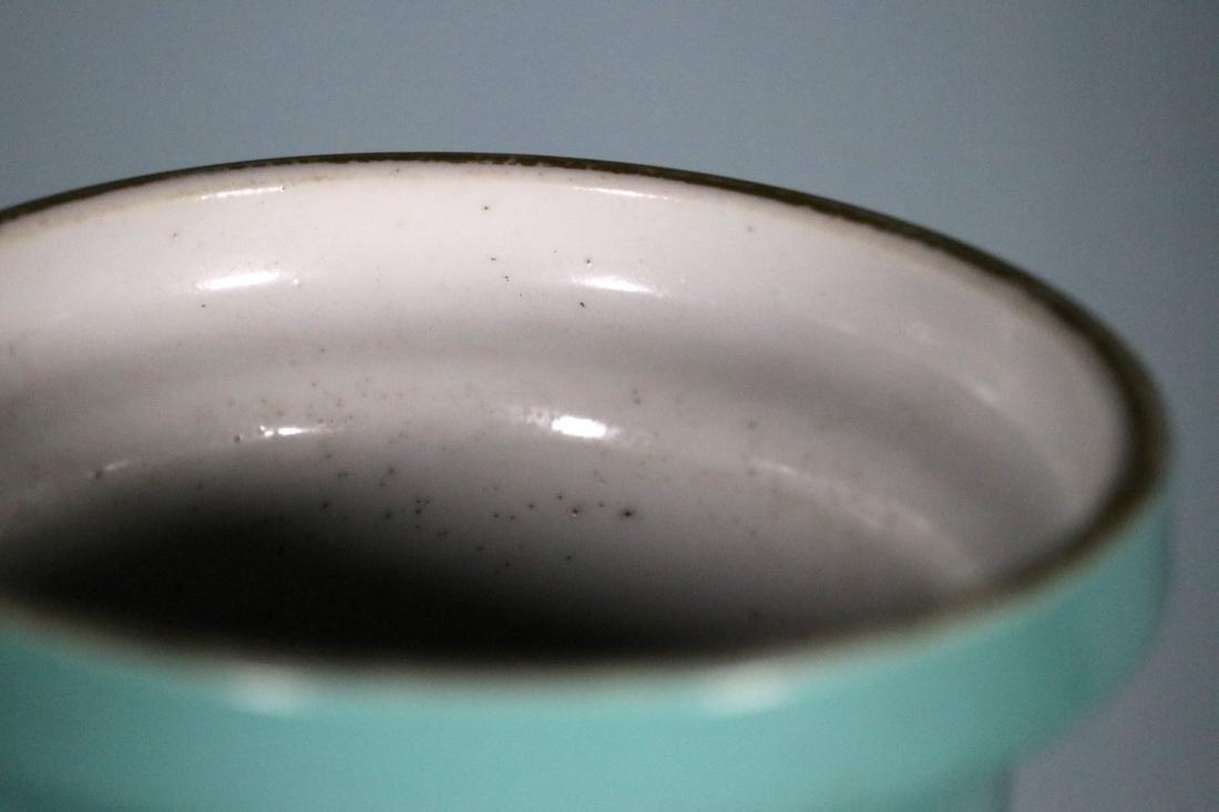 Chinese Lake Green Glazed Rouleat Porcelain Vase - 3