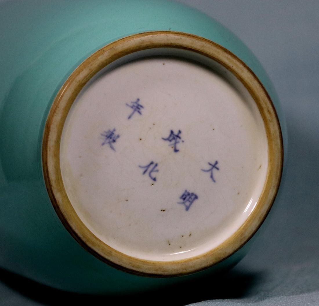 Chinese Lake Green Glazed Rouleat Porcelain Vase - 5