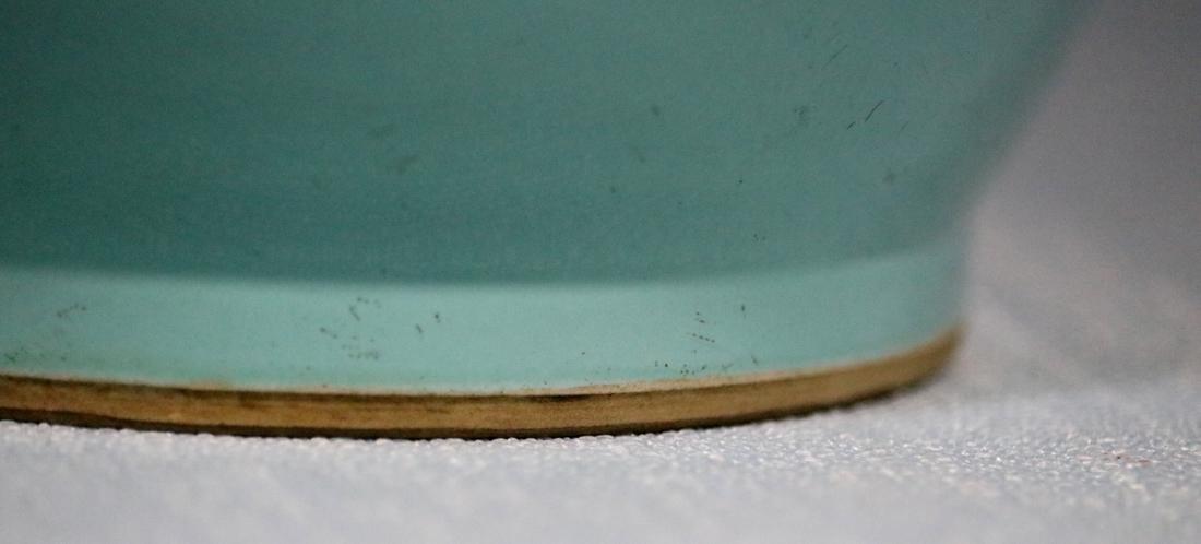 Chinese Lake Green Glazed Rouleat Porcelain Vase - 6