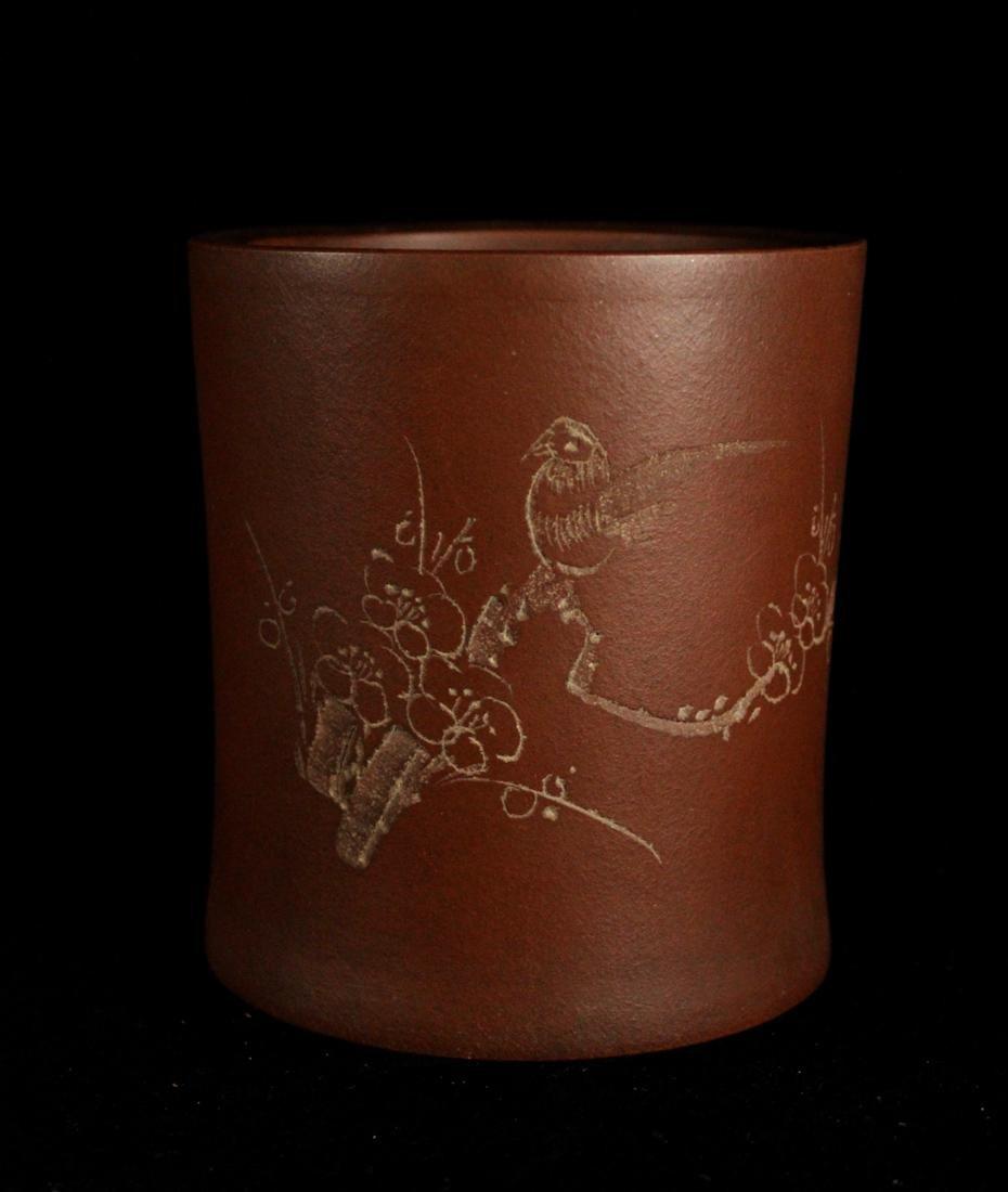 Chinese Yixin Clay Brushpot - Bird Scene