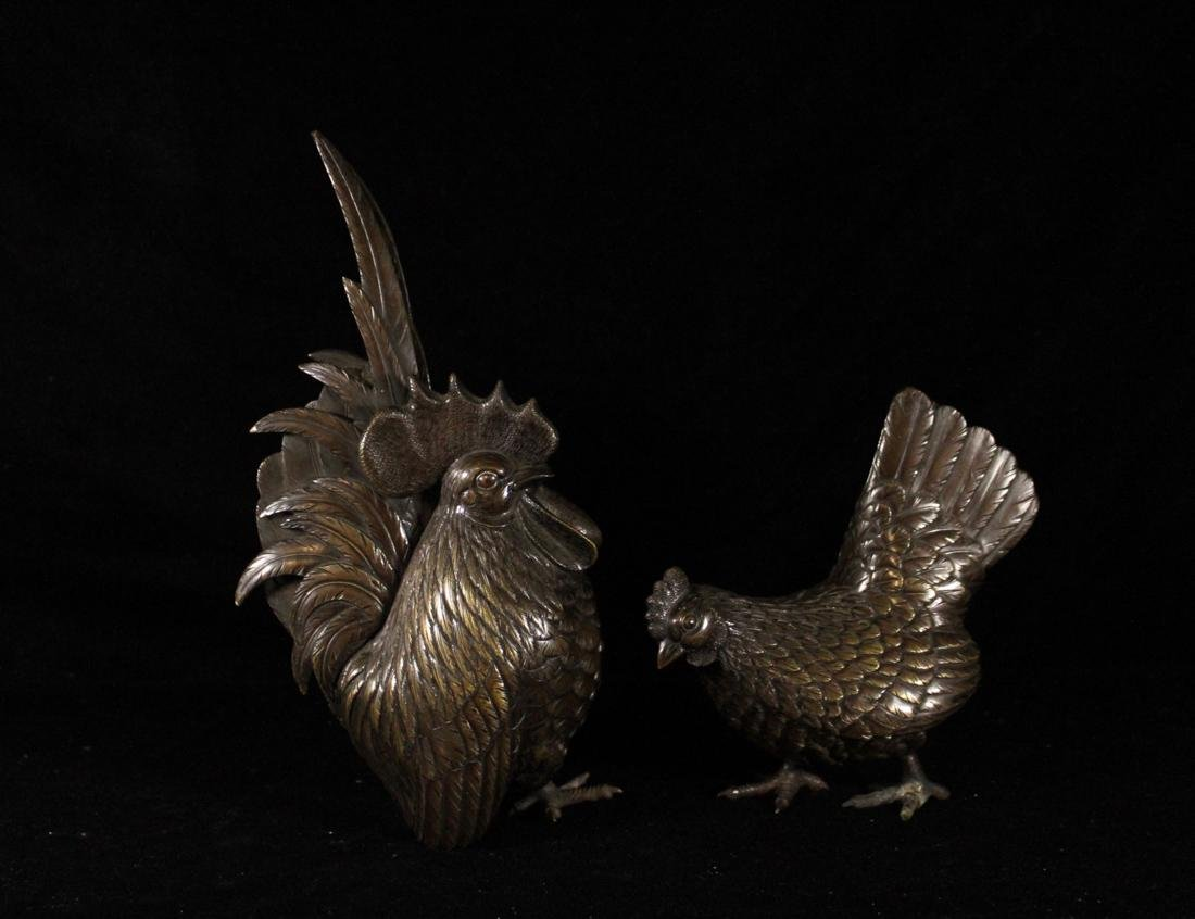 Pair Japanese Bronze Rooster