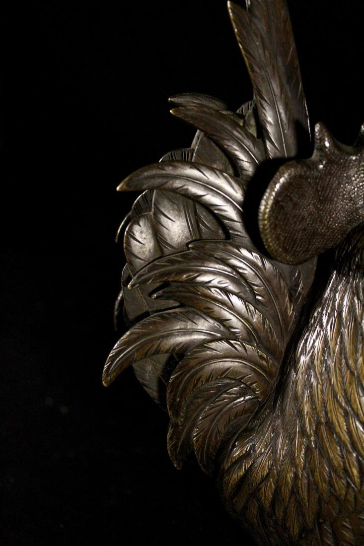 Pair Japanese Bronze Rooster - 4