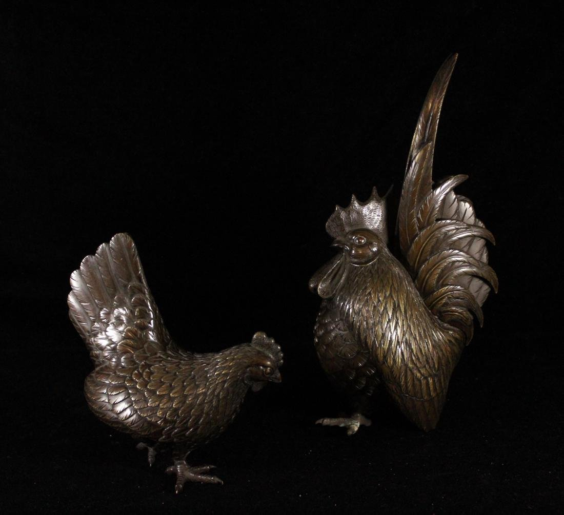 Pair Japanese Bronze Rooster - 7