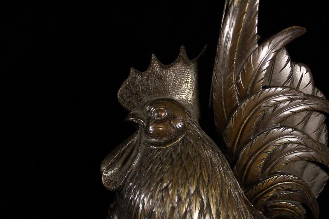 Pair Japanese Bronze Rooster - 9