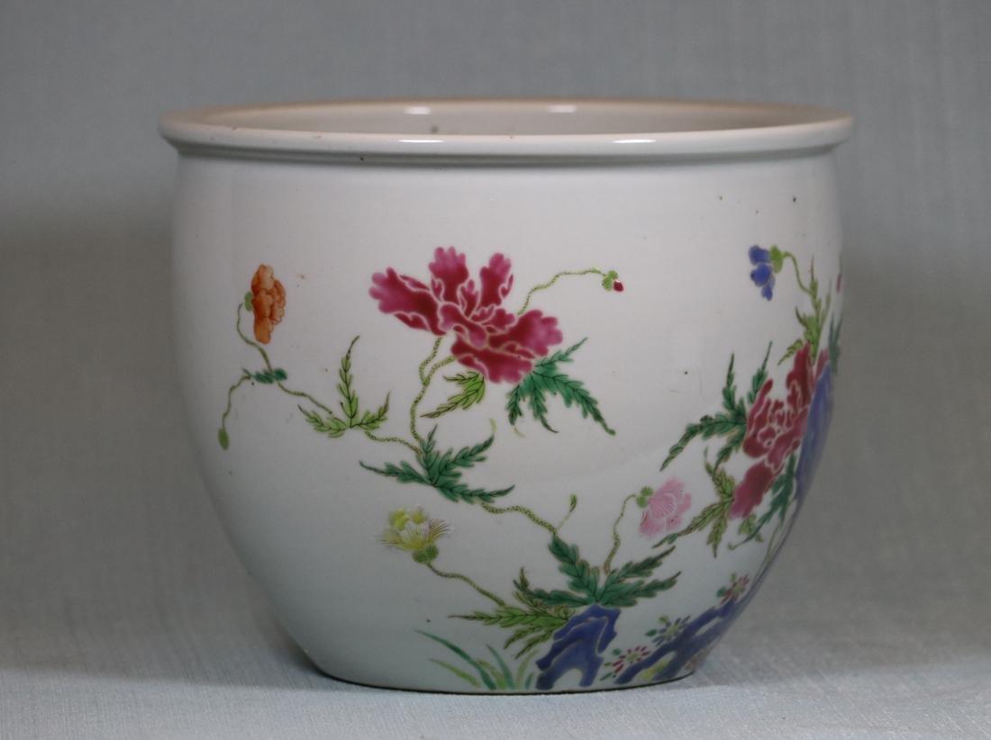 Chinese Famille Rose Porcelain Scholar Fishbowl