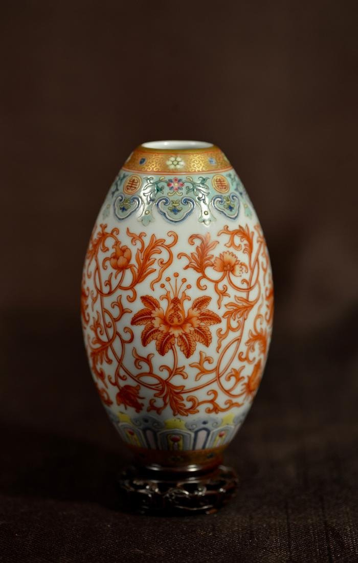 Chinese Porcelain Ovoid Shaped Vase with Stand