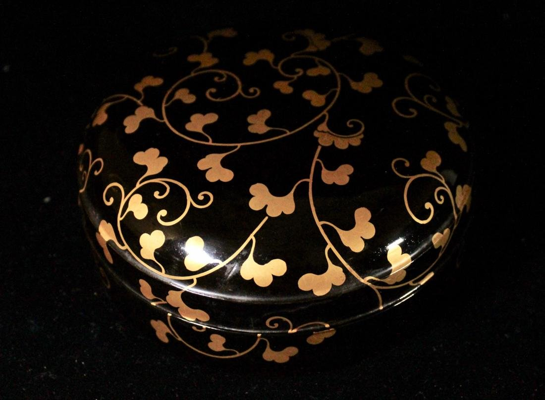 Japanese Black Lacquer Round Box with Gilt