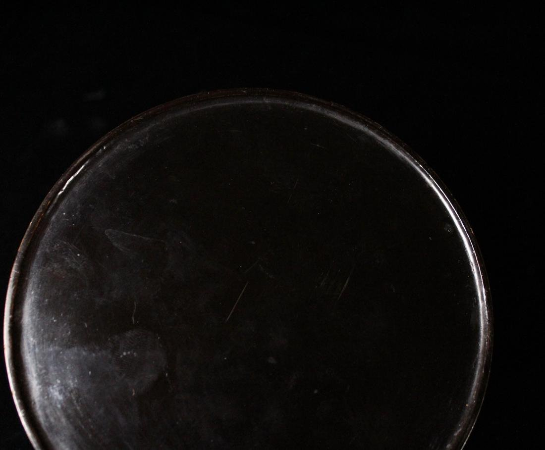 Japanese Black Lacquer Round Box with Gilt - 9