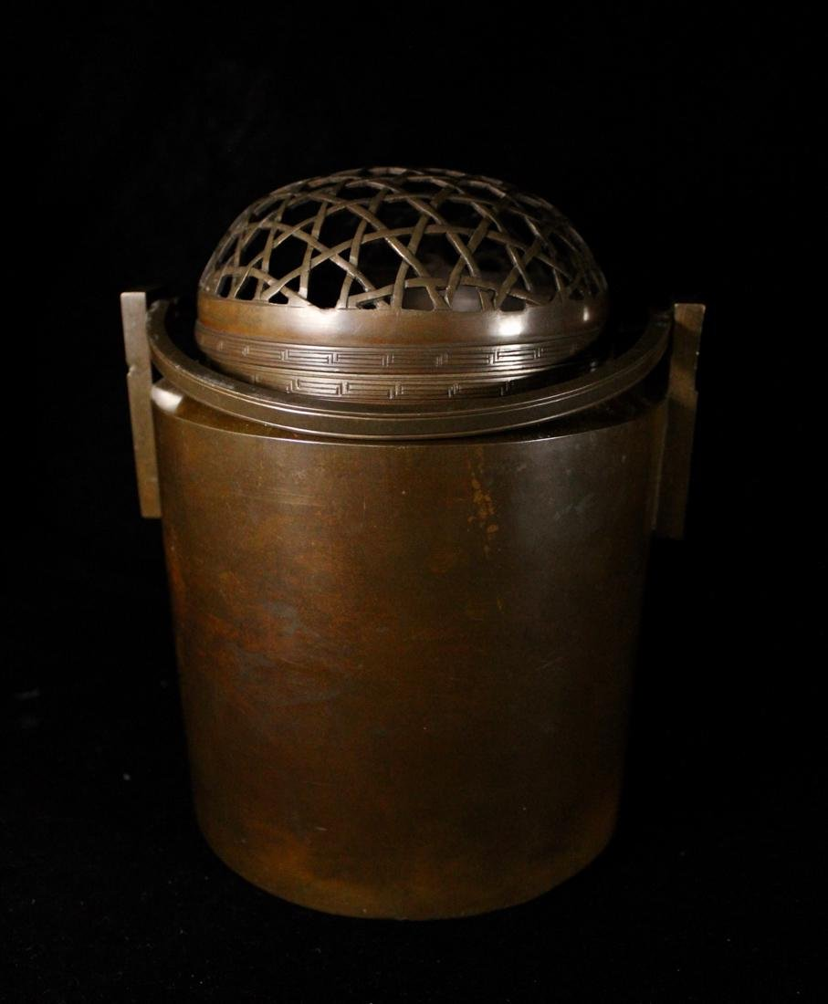 Chinese Bronze Censer Warmer with Net Pattern - 2