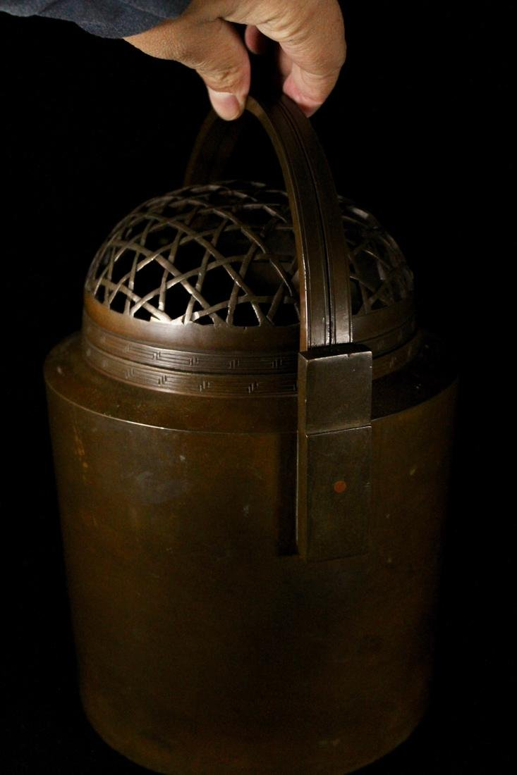 Chinese Bronze Censer Warmer with Net Pattern - 3