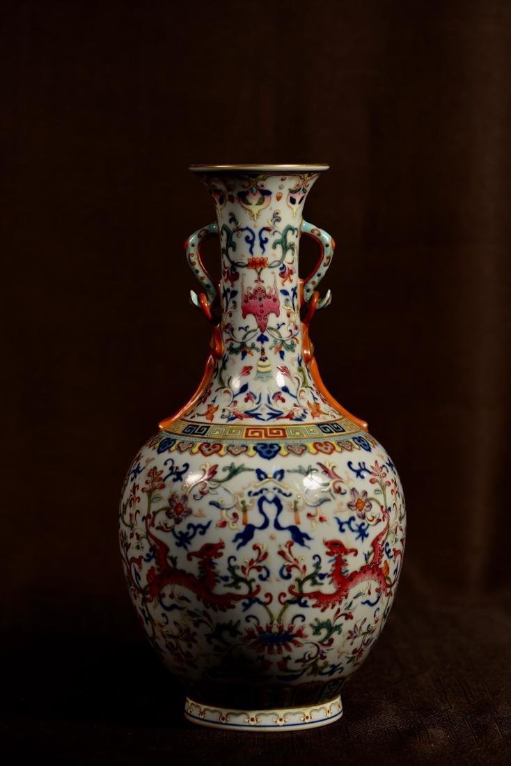 Chinese Famille Rose Porcelain Vase with Double Handle
